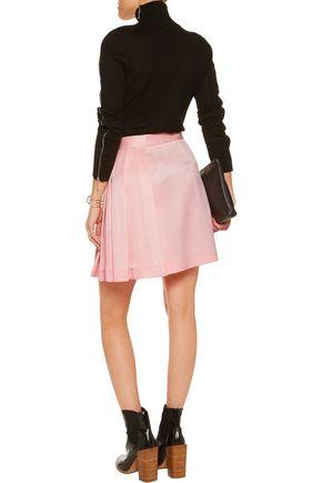 MSGM Pleated extured-satin mini skirt