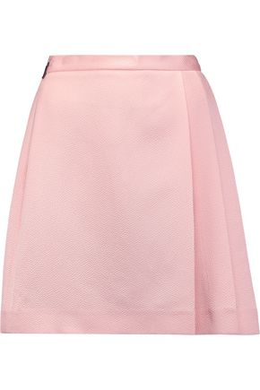 MSGM Pleated extured-satin mini skirt