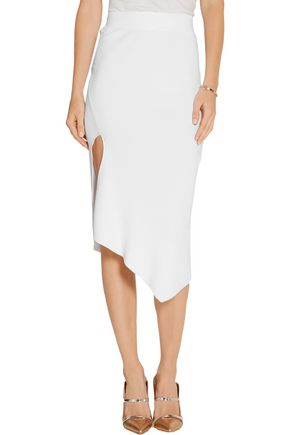 CUSHNIE ET OCHS Asymmetric ribbed stretch-knit skirt