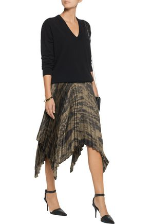 ENZA COSTA Pleated printed satin skirt