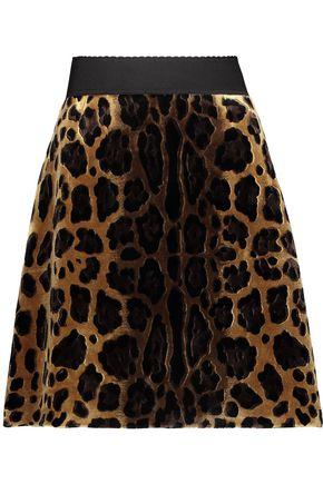 DOLCE & GABBANA Leopard-print velvet mini skirt