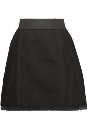DOLCE & GABBANA Lace-trimmed cotton and linen-blend mini skirt