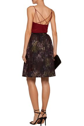 VALENTINO Pleated printed cotton-blend skirt