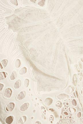 CHLOÉ Broderie anglaise tulle and linen-blend mini skirt