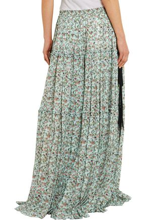 CHLOÉ Tiered floral-print crepe de chine maxi skirt