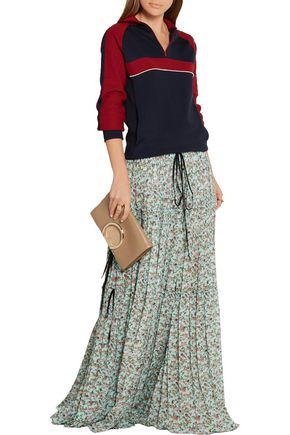 CHLOÉ Tiered floral-print crepe de chine maxi skirt