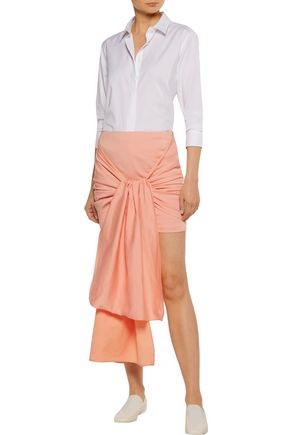STELLA McCARTNEY Peggy tie-front ruched cotton-blend mini skirt