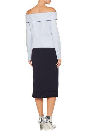 SANDRO Jasmine cutout stretch-knit midi skirt