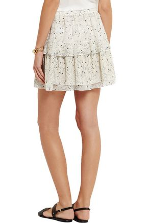 SEE BY CHLOÉ Layered pleated printed organza mini skirt