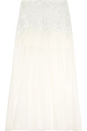 SEE BY CHLOÉ Crochet-paneled cotton-voile maxi skirt