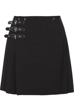 McQ Alexander McQueen Wrap-effect pleated wool-blend mini skirt