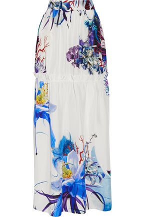 ROBERTO CAVALLI Tiered printed silk maxi skirt