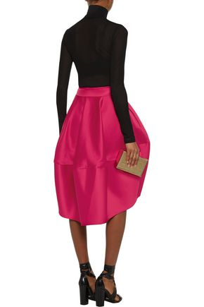 ANTONIO BERARDI Asymmetric pleated duchesse satin skirt