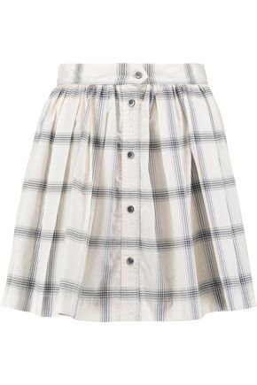 MAISON KITSUNÉ Pleated checked cotton-poplin mini skirt