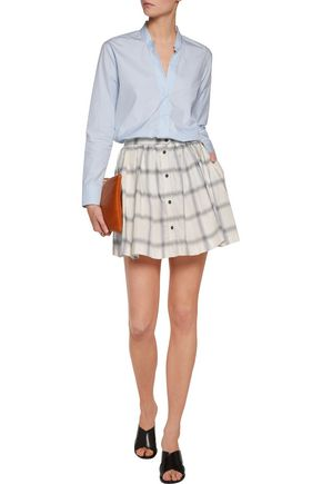 MAISON KITSUNÉ Pleated checked cotton-poplin mini skirt