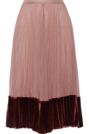 VALENTINO Velvet-paneled pleated silk crepe de chine midi skirt