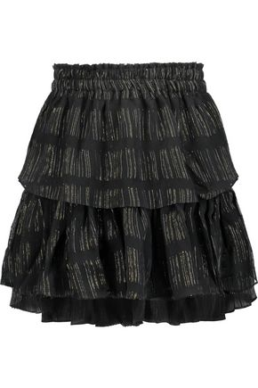 LOVESHACKFANCY Metallic embroidered crinkled silk-blend chiffon mini skirt