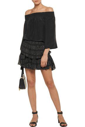 LOVESHACKFANCY Metallic embroidered crinkled silk-blend chiffon mini skirt