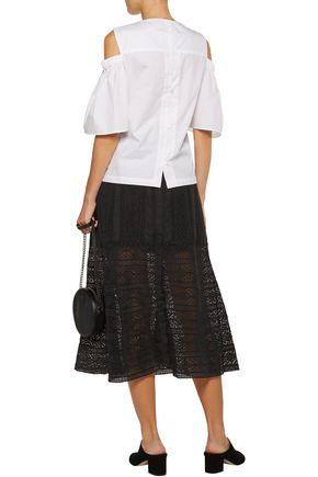 LOVESHACKFANCY Bali crocheted cotton midi skirt