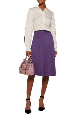 MSGM Pleated stretch-cady skirt