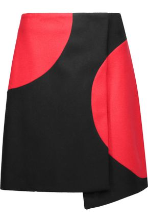 MSGM Two-tone wrap-effect wool-blend felt mini skirt