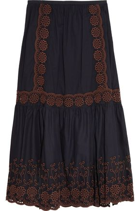 SEE BY CHLOÉ Broderie anglaise printed cotton maxi skirt