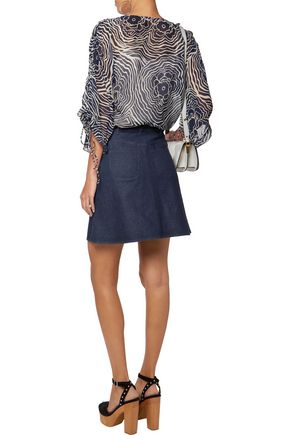SEE BY CHLOÉ Crochet-trimmed denim mini skirt