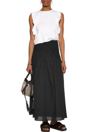 SEE BY CHLOÉ Pleated guipure lace-paneled cotton maxi skirt