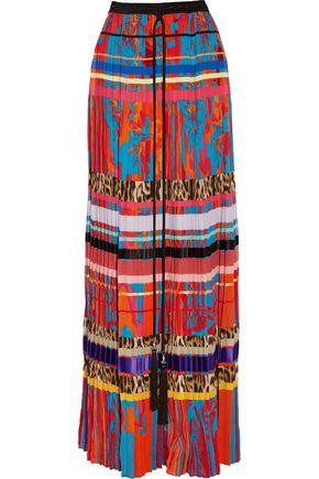 ROBERTO CAVALLI Silk satin-trimmed printed plissé-silk crepe de chine maxi skirt