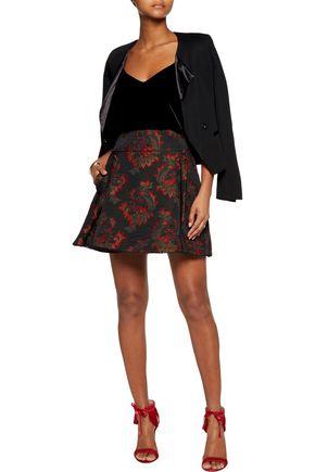 ROBERTO CAVALLI Pleated cotton-blend jacquard mini skirt