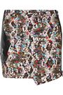 ROBERTO CAVALLI Faux leather-trimmed cotton-blend tweed mini skirt
