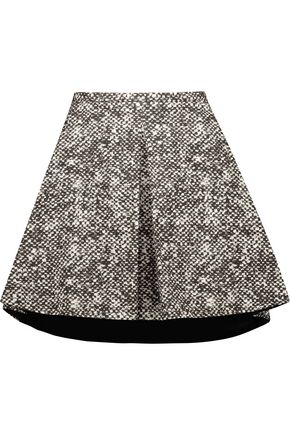 ROBERTO CAVALLI Pleated snake-print cotton-twill mini skirt