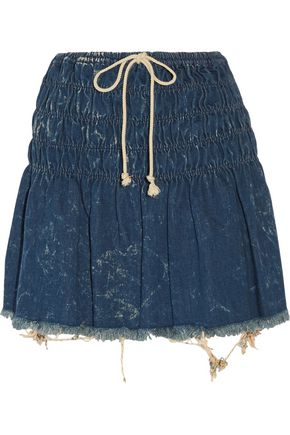 CHLOÉ Shirred frayed denim mini skirt