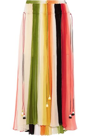 CHLOÉ Striped silk-crepon maxi skirt