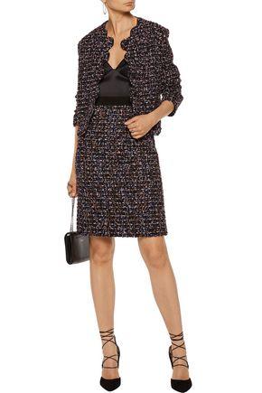 GIAMBATTISTA VALLI Grosgrain-trimmed frayed tweed mini skirt