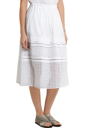 BY MALENE BIRGER Duenana organza-trimmed cotton-poplin midi skirt