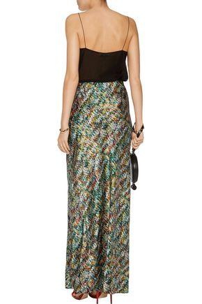 MISSONI Printed silk-blend satin maxi skirt
