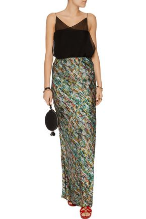 MISSONI Printed silk-blend satin maxi skirt