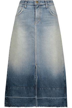 CURRENT/ELLIOTT The Slit frayed faded denim midi skirt