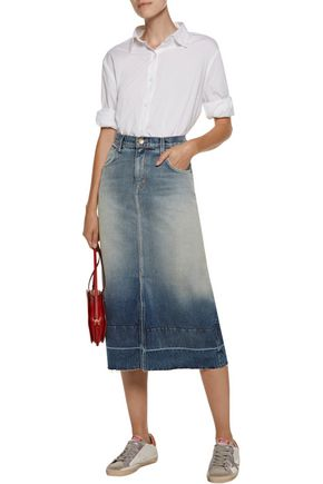 CURRENT/ELLIOTT The Slit frayed dégradé denim midi skirt