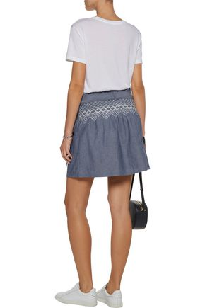 CURRENT/ELLIOTT Smocked embroidered cotton-chambray mini skirt