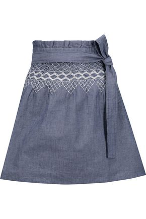 CURRENT/ELLIOTT Smocked embroidered cotton-chambray mini skirt