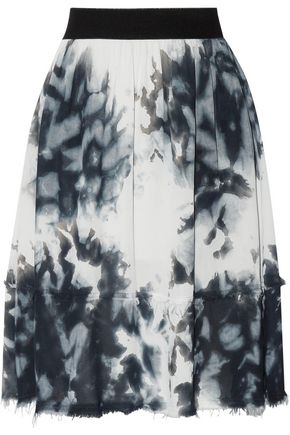 WOMAN FRAYED TIE-DYED CREPE DE CHINE SKIRT PETROL