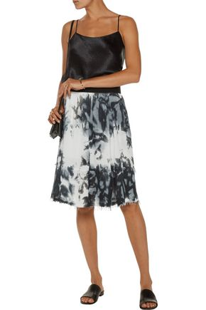 ENZA COSTA Frayed tie-dyed crepe de chine skirt