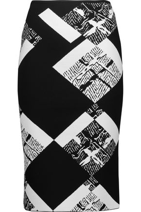 ROLAND MOURET Archel intarsia-knit pencil skirt