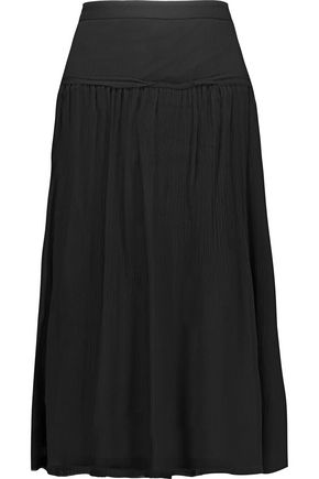 RAQUEL ALLEGRA Gathered crinkled silk-gauze skirt