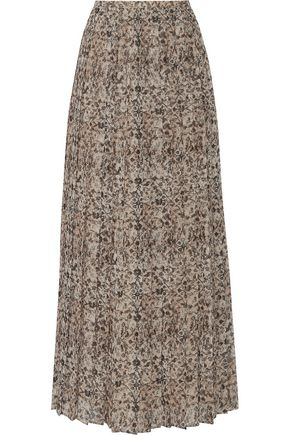 MAX MARA Pleated printed chiffon midi skirt