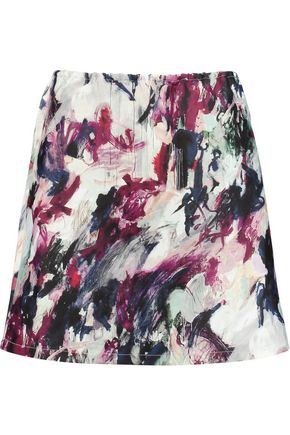 CARVEN Printed crepe and cotton-jersey mini skirt