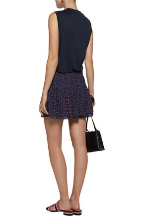 FIGUE Lucette pleated printed cotton-blend broadcloth mini skirt