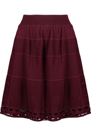 SANDRO Bianca pointelle-knit mini skirt